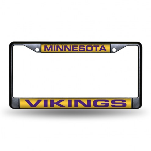 Minnesota Vikings Laser Black License Plate Frame