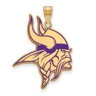 Minnesota Vikings Sterling Silver Gold Plated Large Pendant