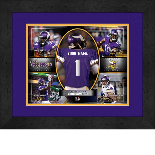 Minnesota Vikings Personalized 13 x 16 Framed Action Collage