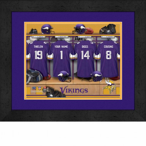 Minnesota Vikings Personalized Locker Room 13 x 16 Framed Photograph