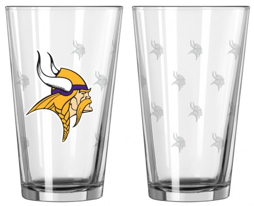 Minnesota Vikings Satin Etch Pint Glass - Set of 2