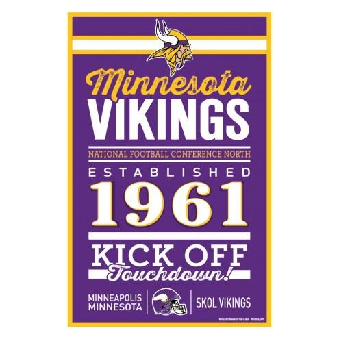 Minnesota Vikings Established Wood Sign
