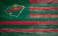 "Minnesota Wild 11"" x 19"" Distressed Flag Sign"