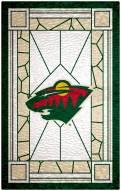 """Minnesota Wild 11"""" x 19"""" Stained Glass Sign"""
