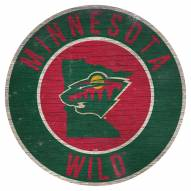 """Minnesota Wild 12"""" Circle with State Sign"""
