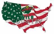"Minnesota Wild 15"" USA Flag Cutout Sign"