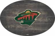 "Minnesota Wild 46"" Distressed Wood Oval Sign"