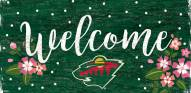 """Minnesota Wild 6"""" x 12"""" Floral Welcome Sign"""