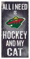 "Minnesota Wild 6"" x 12"" Hockey & My Cat Sign"