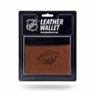 Minnesota Wild Brown Leather Trifold Wallet