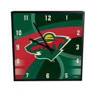 Minnesota Wild Carbon Fiber Square Clock
