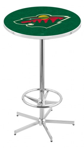 Minnesota Wild Chrome Bar Table with Foot Ring