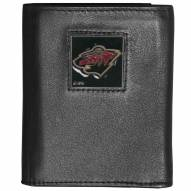 Minnesota Wild Deluxe Leather Tri-fold Wallet in Gift Box