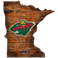 Minnesota Wild Distressed State with Logo Sign