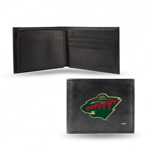 Minnesota Wild Embroidered Leather Billfold Wallet