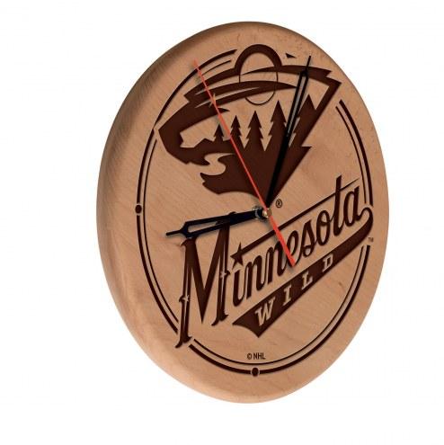 Minnesota Wild Laser Engraved Wood Clock