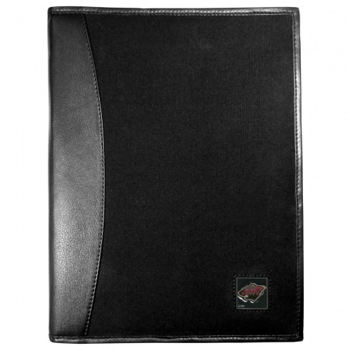Minnesota Wild Leather and Canvas Padfolio
