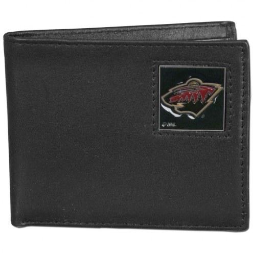 Minnesota Wild Leather Bi-fold Wallet in Gift Box