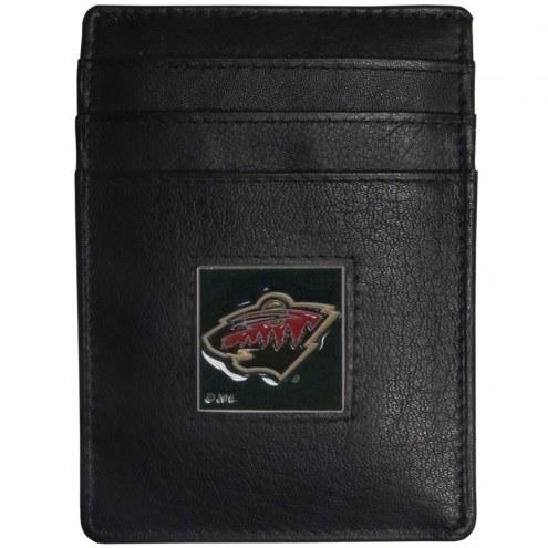 Minnesota Wild Leather Money Clip/Cardholder