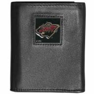 Minnesota Wild Leather Tri-fold Wallet