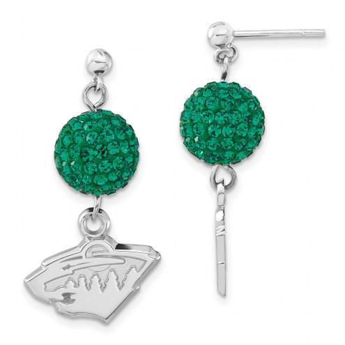 Minnesota Wild Sterling Silver Crystal Ovation Earrings