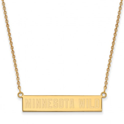 Minnesota Wild Sterling Silver Gold Plated Bar Necklace