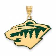 Minnesota Wild Sterling Silver Gold Plated Large Enameled Pendant