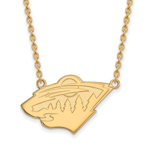 Minnesota Wild Sterling Silver Gold Plated Large Pendant Necklace