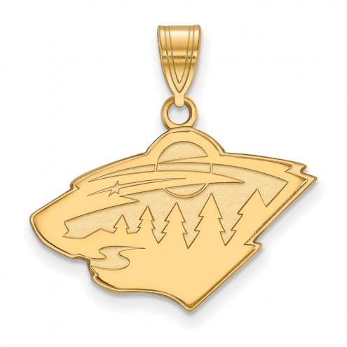 Minnesota Wild Sterling Silver Gold Plated Medium Pendant