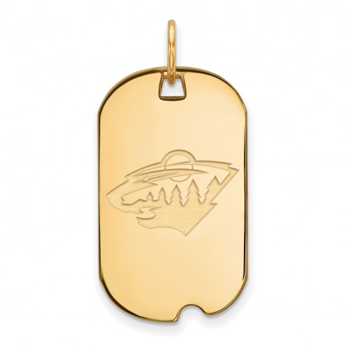 Minnesota Wild Sterling Silver Gold Plated Small Dog Tag