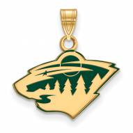 Minnesota Wild Sterling Silver Gold Plated Small Enameled Pendant