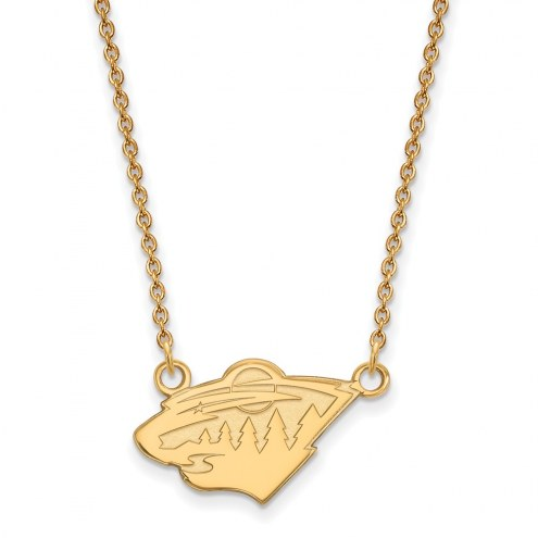 Minnesota Wild Sterling Silver Gold Plated Small Pendant Necklace