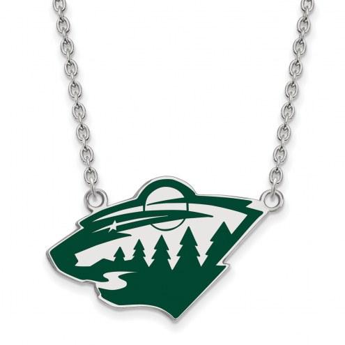Minnesota Wild Sterling Silver Large Enameled Pendant Necklace