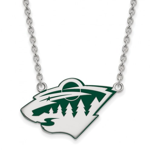 Minnesota Wild Sterling Silver Large Enameled Pendant Necklace