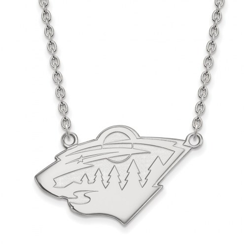 Minnesota Wild Sterling Silver Large Pendant Necklace