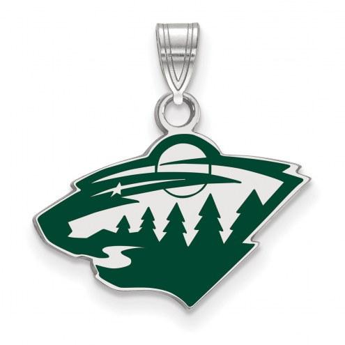 Minnesota Wild Sterling Silver Small Enamel Pendant