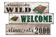 Minnesota Wild Welcome 3 Plank Sign