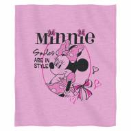 Minnie Mouse Smiles in Style Script Sweatshirt Throw Blanket
