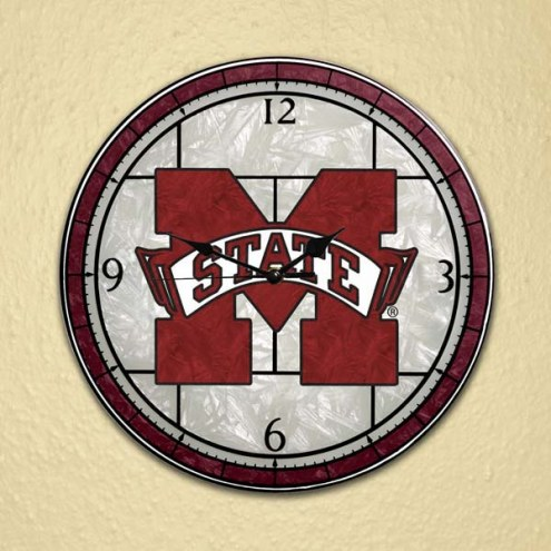 Mississippi State Bulldogs NCAA Stained Glass Wall Clock