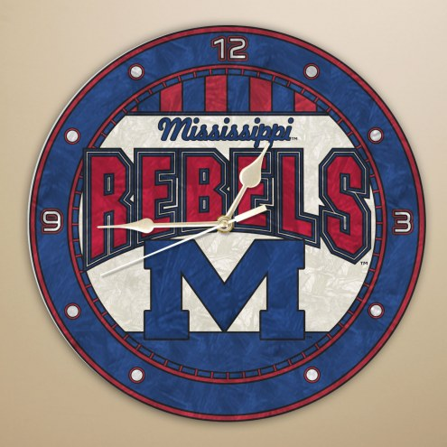 Mississippi Ole Miss Rebels NCAA Stained Glass Wall Clock