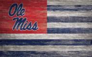 """Mississippi Rebels 11"""" x 19"""" Distressed Flag Sign"""