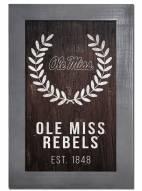 """Mississippi Rebels 11"""" x 19"""" Laurel Wreath Framed Sign"""
