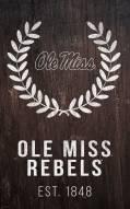 """Mississippi Rebels 11"""" x 19"""" Laurel Wreath Sign"""