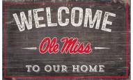 """Mississippi Rebels 11"""" x 19"""" Welcome to Our Home Sign"""