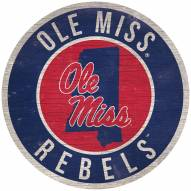 """Mississippi Rebels 12"""" Circle with State Sign"""