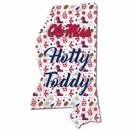 """Mississippi Rebels 12"""" Floral State Sign"""