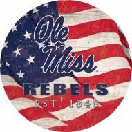 """Mississippi Rebels 12"""" Team Color Flag Circle Sign"""