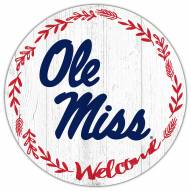 """Mississippi Rebels 12"""" Welcome Circle Sign"""