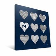 "Mississippi Rebels 12"" x 12"" Hearts Canvas Print"