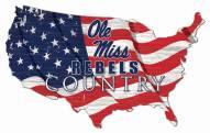 "Mississippi Rebels 15"" USA Flag Cutout Sign"